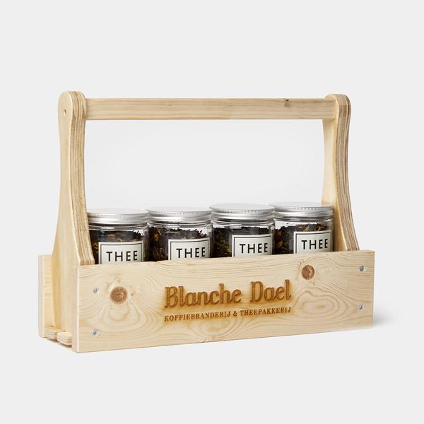 Blanche Dael theerek hout voor 4 potjes